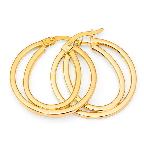 Yellow Gold Bonded 19mm Hoops