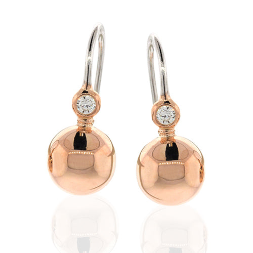 9ct 2-Tone Gold Bonded Ball Hook Earrings