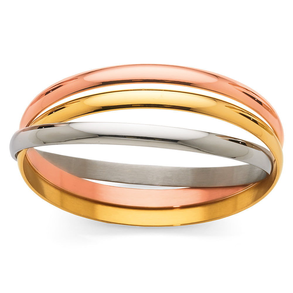Stainless Steel Three-Tone 65mm Russian Bangle
