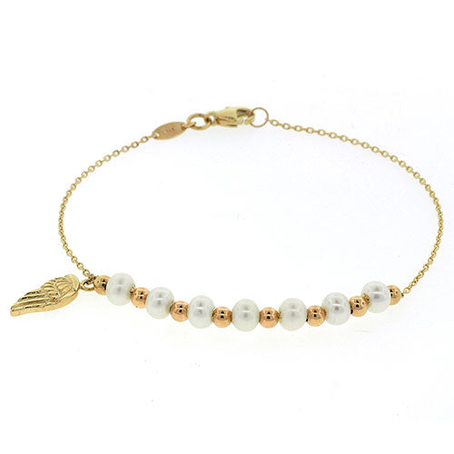 9ct Gold Pearl & Wing Charm Bracelet