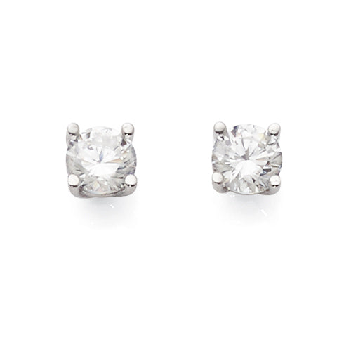 9ct White Gold Cubic Zirconia 4.5mm Studs