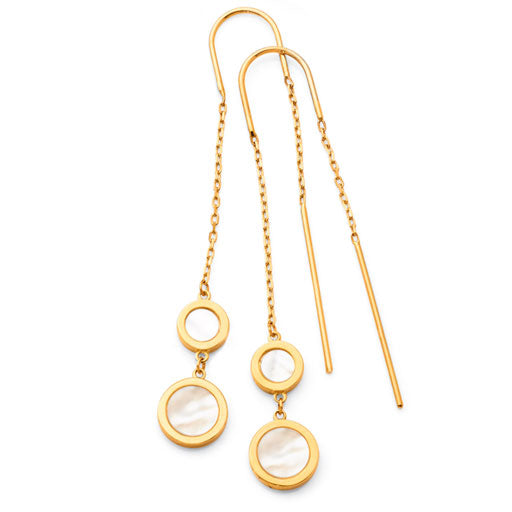 9ct Yellow Gold Mother of Pearl Thread Earrings