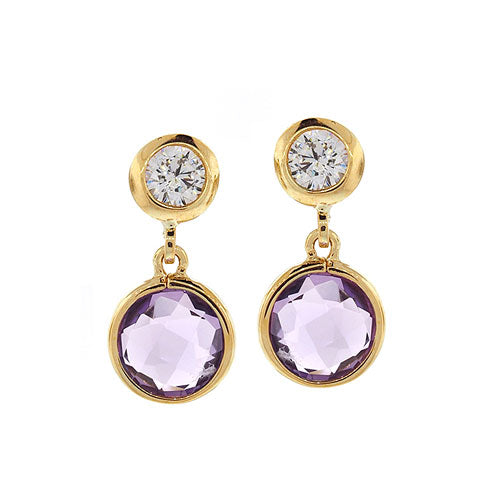 9ct Gold Amethyst & Cubic Zirconia Stud Earrings