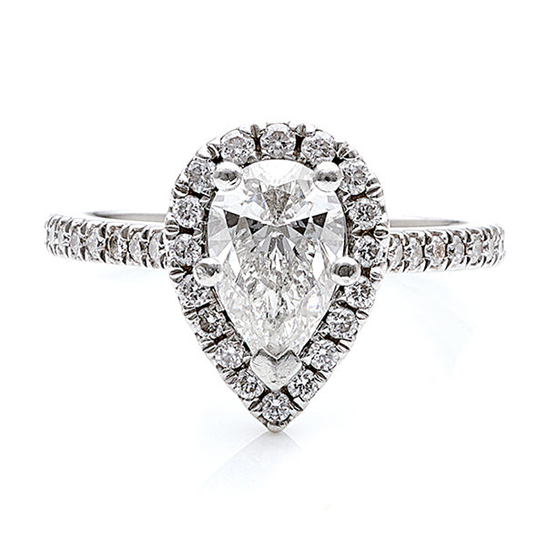 18ct Pear Diamond Halo Engagement Ring TW 1.0ct