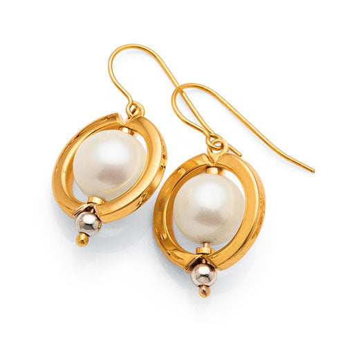 Yellow Gold Bonded Pearl Hook Earrings