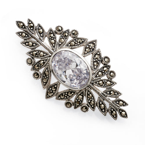 Sterling Silver Marcasite Cubic Zirconia Brooch