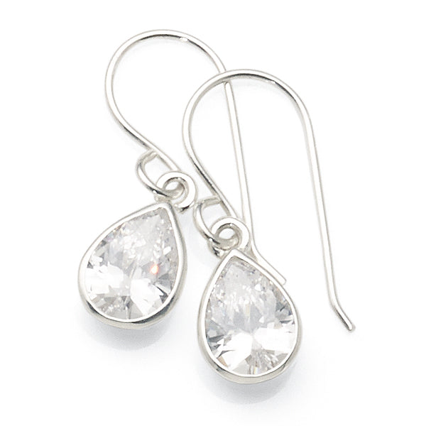 Sterling Silver Cubic Zirconia Hook Earrings