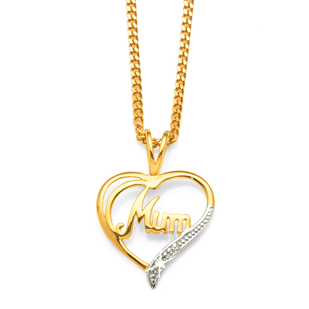 9ct Gold Diamond Heart 'Mum' Pendant