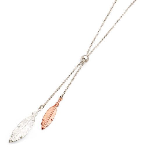Sterling Silver Rose Tone Feather Necklet