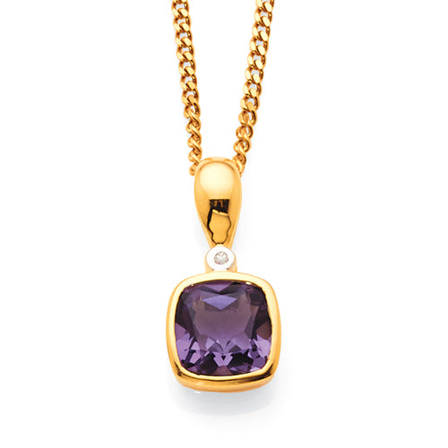 9ct Yellow Gold Amethyst & Diamond Pendant