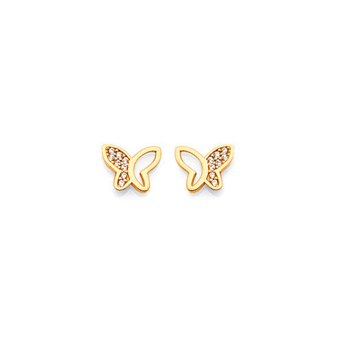 9ct Yellow Gold Cubic Zirconia Butterfly Studs