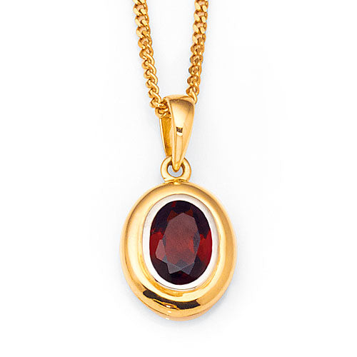 Yellow Gold Garnet Pendant