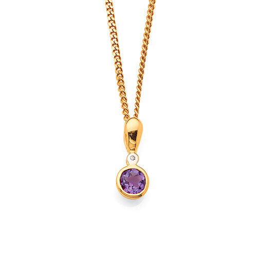 Diamond Amethyst Gold Pendant