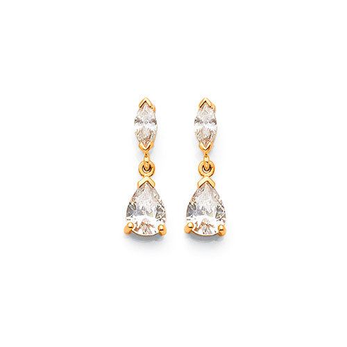 9ct Yellow Gold Cubic Zirconia 6mm Drop Studs