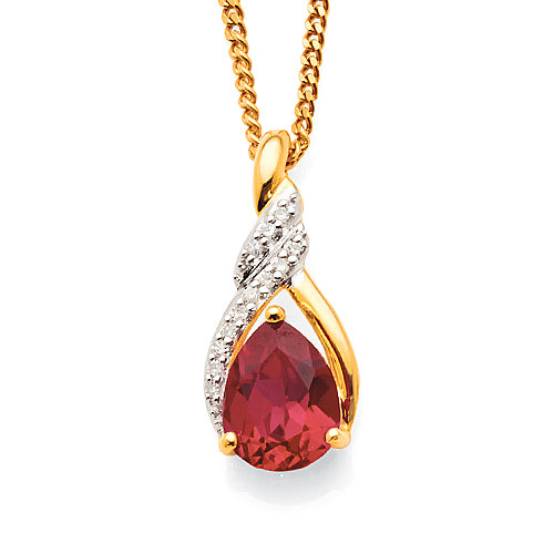 Yellow Gold Ruby & Diamond Pendant