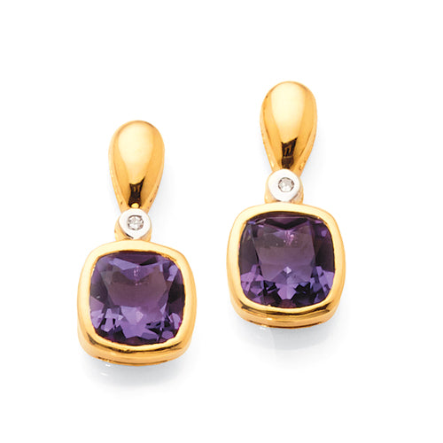 Yellow Gold Amethyst Diamond Studs