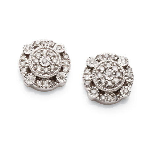 9ct White Gold Diamond Cluster Studs TW 0.16ct