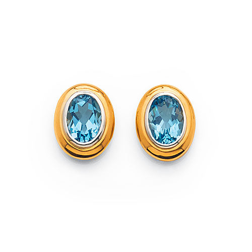 9ct Yellow Gold Blue Topaz 7mm Oval Studs