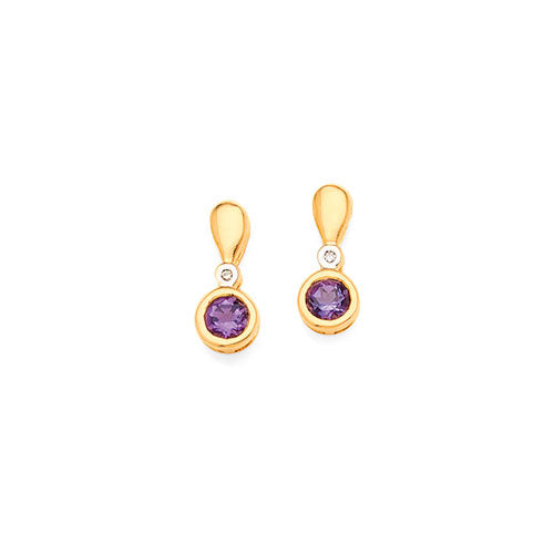 9ct Yellow Gold Amethyst & Diamond Drop Studs