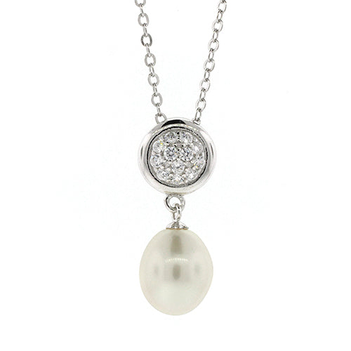 Sterling Silver 41cm Pearl Pendant