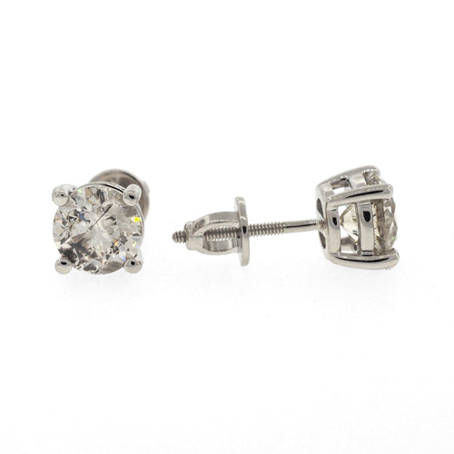 18ct White Gold Screw Back 2 Carat Diamond Studs