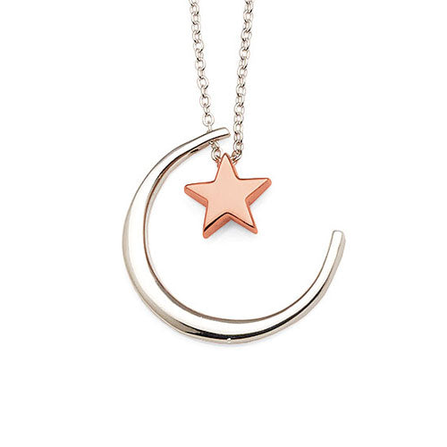 Sterling Silver Rose Tone Star & Moon Necklet