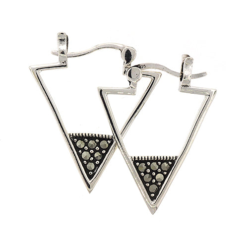 Stainless Steel Marcasite 20mm Tri-Hoops