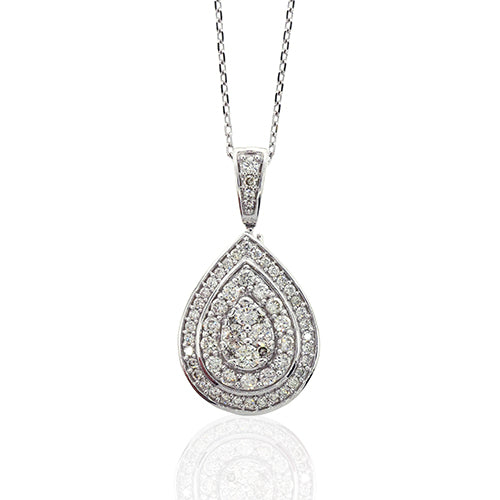 9ct White Gold Diamond Encrusted Necklet TW 0.46CT