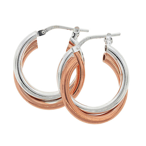 Sterling Silver Rose Tone 15mm Hoops