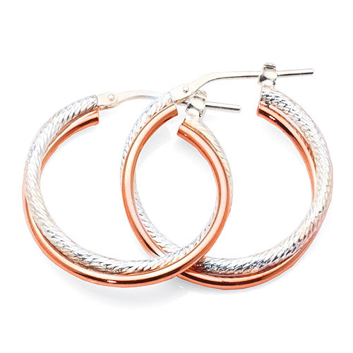 Sterling Silver 2-tone 20mm Hoops