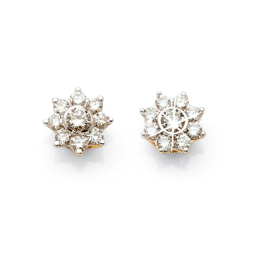 9ct Yellow Gold Diamond Flower Studs TW 0.30ct
