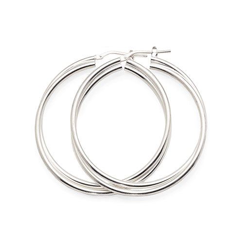 Sterling Silver 40mm Crossover Hoops