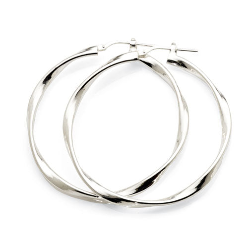 Sterling Silver 40mm Twist Hoops
