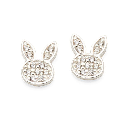 Sterling Silver Cubic Zirconia Bunny Studs