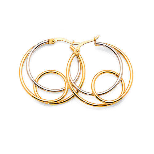 Yellow & White Gold Bonded 25mm Hoops