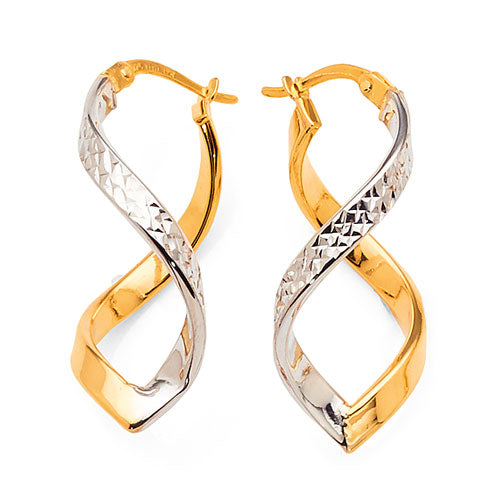 Yellow & White Gold Bonded Hoops