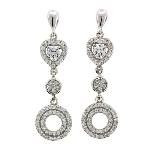Sterling Silver Cubic Zirconia 30mm Drop Studs