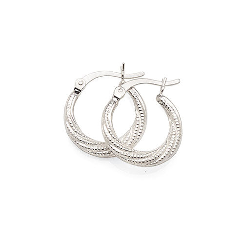 Sterling Silver 12mm Tapered Twist Hoops