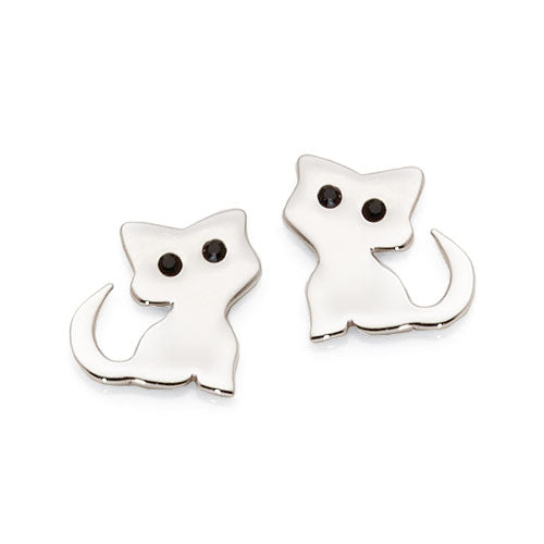 Sterling Silver Crystal Cat Studs