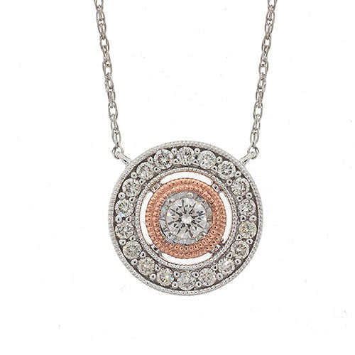 9ct 2-Tone Gold Diamond Circle Necklet