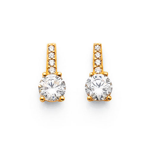 9ct Yellow Gold Cubic Zirconia Studs