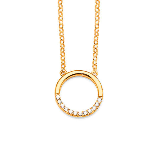 9ct Yellow Gold Cubic Zirconia Open Circle Necklet