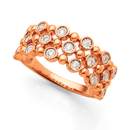Rose gold diamond bubble ring