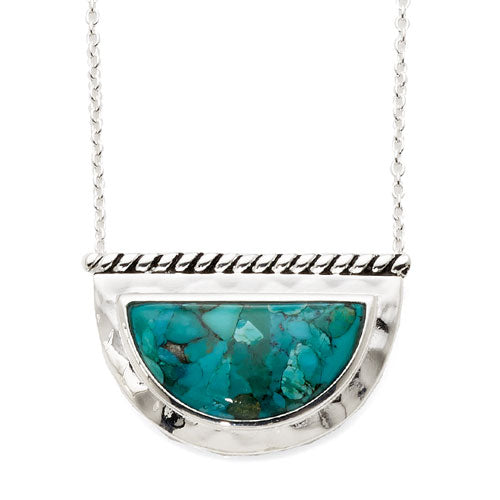 Sterling Silver Created Turquoise Necklet