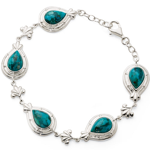 Sterling Silver & Created Turquoise Bracelet