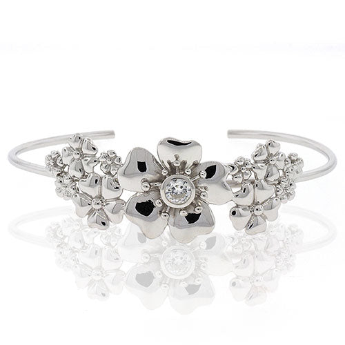 Sterling Silver Flower Cuff Bangle