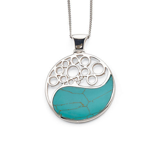 Sterling Silver Created Turquoise Yin & Yang Pendant