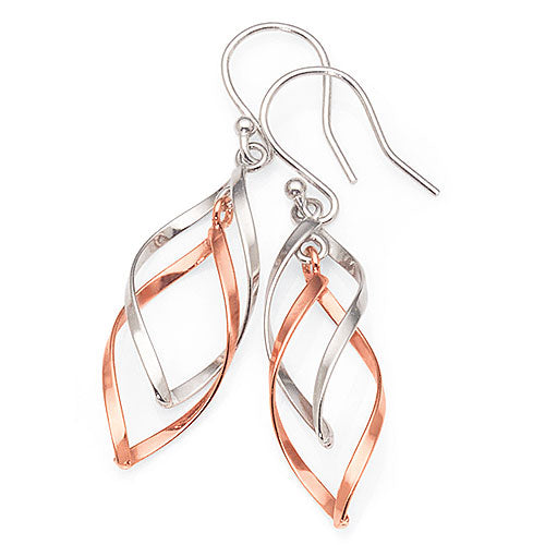 Sterling Silver and Rose-Tone Earrings
