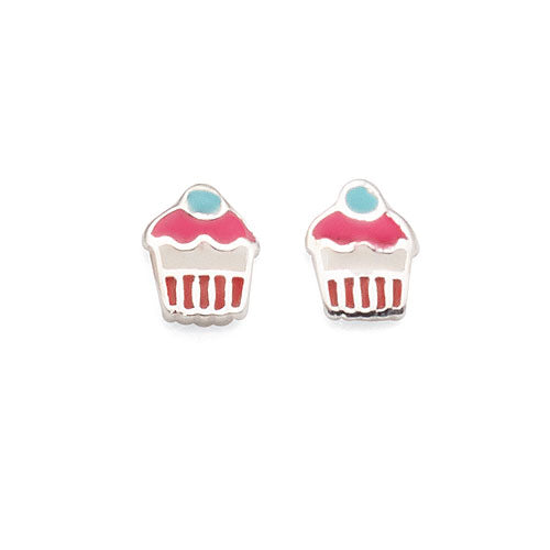 Sterling Silver Cupcake Stud Earrings