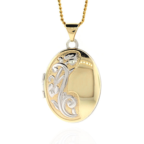 9ct Gold & Sterling Silver 21mm Oval Locket